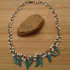 Feather Beaded Bronze Chain Linked Necklace